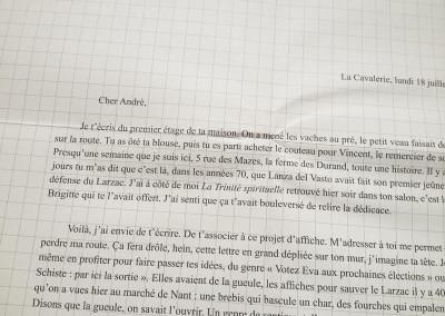 <i>L'écriture m'a donné une enveloppe</i>, détail du poster de Dorothée Volut.