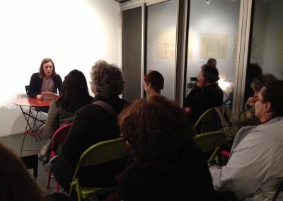 Lecture de Marie-Luce Ruffieux, lors du lancement des posters de Marie-Luce Ruffieux et Dominique Meens et exposition des posters - Librairie histoire de l'œil, Marseille, 1er décembre 2012.