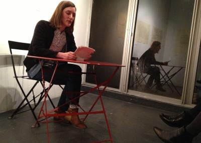 Lecture de Marie-Luce Ruffieux, lors du lancement des posters de Marie-Luce Ruffieux et de Dominique Meens et exposition des posters - Librairie histoire de l'œil, Marseille, 1er décembre 2012.