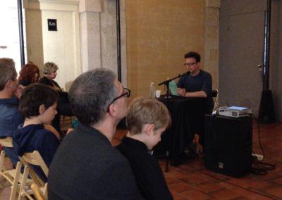 """Lecture de <a href=""""http://www.contre-mur.com/project/baptiste-gaillard/"""">Baptiste Gaillard</a> - Présentation des éditions Contre-mur au cipM - 5 mai 2018"""